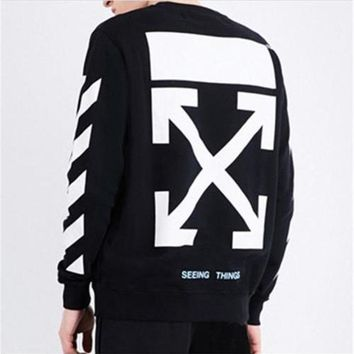 HCXX New Off White Hoodie C/O Virgil Abloh S/S Unisex Arrow Painting Sweater