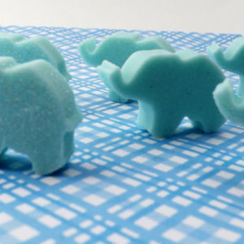 Bulk 50 Mini Baby Elephants; Baby Shower or Party Favors; Personalized Custom Tags or Labels, Natural Glycerin Soap, Packaging