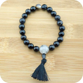 Black Sardonyx Agate Wrist Mala with Tourmilated Quartz Crystal