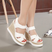 2015 summer new explosive single paragraph wedge sandals heavy-bottomed hollow white high heels shoes = 1753562564