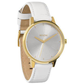 Nixon The Kensington Leather Watch All White/Gold Patent One Size For Women 22194898301