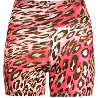 Power Shorts in Pink Leopard