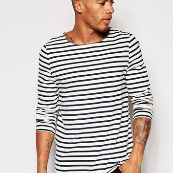 ASOS Stripe Long Sleeve T-Shirt With Boat Neck at asos.com