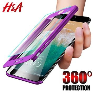 H&A 360 Degree Full Cover Phone Case For iPhone 7 8 6 6s Plus 5 5s SE Screen Protector Film Phone Cover For iPhone 6 Plus Glass
