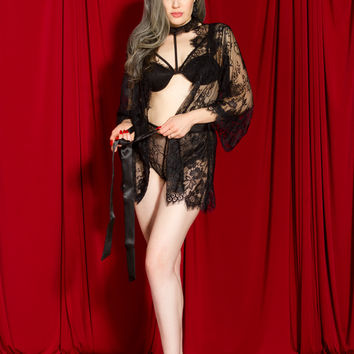 Zhora Eyelash Lace Robe in Black