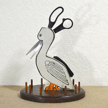 Folk Art Wooden Thread Holder, Pincushion, and Scissors Holder- Bird Thread Caddy, Antique Rustic Americana Folk Art Duck 40s Sewing Caddy