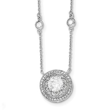 Sterling Silver Polished Cz W/2in. Ext. Necklace