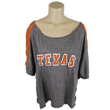 Licensed Texas Longhorns Loose-fitting Raglan Style Shirt W/ Lace Insets In The Sleeves KO_19_1
