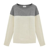 ZLYC Women Classic Colorblock Boatneck Pullover Jumper Cable Knitted Sweater Gray