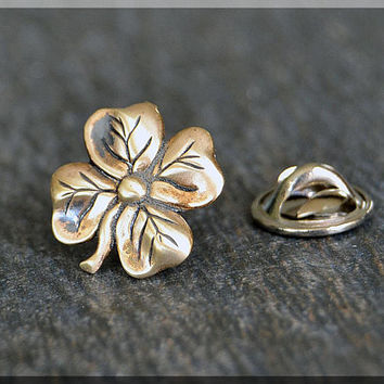 Four Leaf Clover Tie Tac, Clover Lapel Pin, Shamrock Brooch, Gift for Him, Gift Under 10 Dollars, Tie Tack, Irish Tie Tac, Lucky Lapel Pin