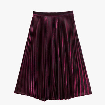 Red Shimmer and Shine Pleated Midi Skirt