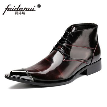 Plus Size Pointed Toe Lace up Man Handmade Runway Shoes Italian Designer Patent Leather Men's Rocker Riding Ankle Boots SL48