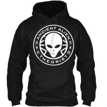 Ancient Alien Theorist Alien Head Conspiracy Pullover Hoodie 8 oz