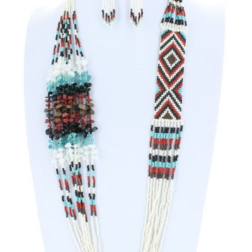 AZTEC Trendy Seedbead Long Necklace and Earrings Set Beaded Fashion Turquoise Brown Red Black White Bead Costume Jewelry Gift