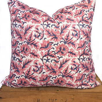 "Indian Block Print Pillow Cover 20"" Pink"
