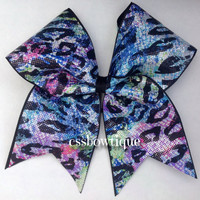 Multi-color Cheetah Cheer Bow