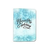 Never Stop Exploring Marble Granite Pattern Leather Passport Cover - Vintage Passport Wallet - Travel Accessory Gift - Travel Wallet for Women and Men _Mishkaa