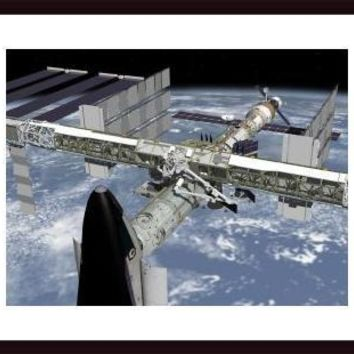 Close up view of the Shuttle docked to Node 2 of the International Space Station., framed black wood, white matte