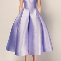 The Alicja Silk Strapless Midi with Shoulder Detail Dress | Moda Operandi