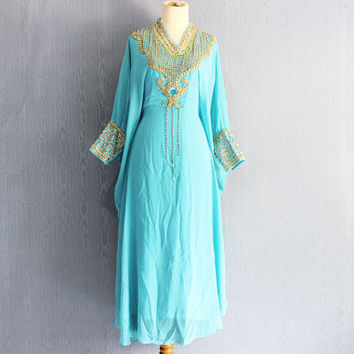 Fanxy Tosca Blue Sequin Caftan Dress, Plus Size Caftan Maxi Dress, Fancy Maxi Kaftan Gowns Dresses, Moroccan Dubai Abaya Maxi Caftan Dress