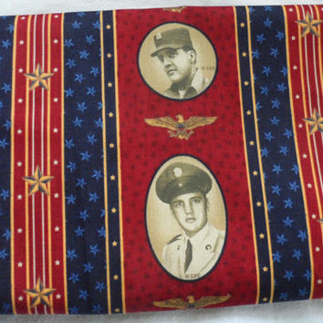 CRANSTON VILLAGE VIP Fabric/Famous Icon Photographs on Patriotic Design and Colored Fabric/Only For Personal Consumption Printed on Selvedge