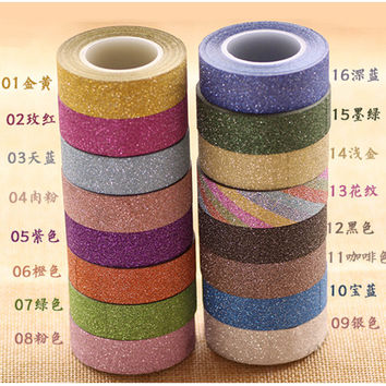 DIY 10 M Glitter Decorative Washi Tape Scrapbooking Tool Plannese Accessories Adhensive Paper Scotch Masking Tape
