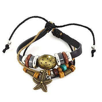 Starfish Charm Leather Bracelet Wooden Star Medal BE34 Beaded Cuff Bangle Fashion Jewelry