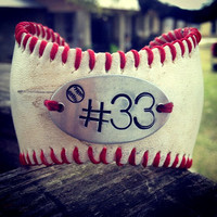 Softball or Baseball Bracelet with Handstamp of jersey number