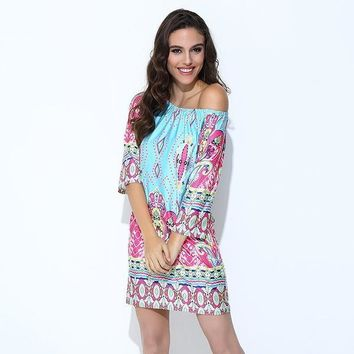 Boho Print Off Shoulder Dress