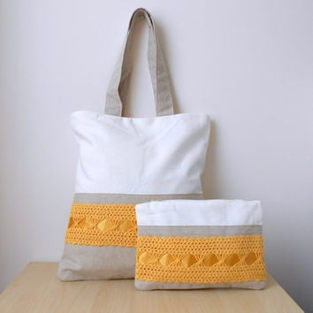 Natural linen tote bag with cluth, yellow lace bag, canvas tote bag and purse