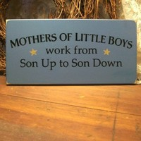 Mothers of Little Boys Painted Wood Sign Blue | CountryWorkshop - Folk Art & Primitives on ArtFire