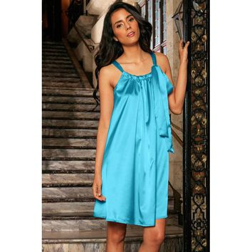 Blue Turquoise Swing Spring Summer Halter Chiffon Dress - Women