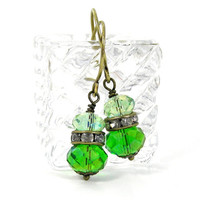 Green Crystal Earrings, Peridot Green, August Birthstone