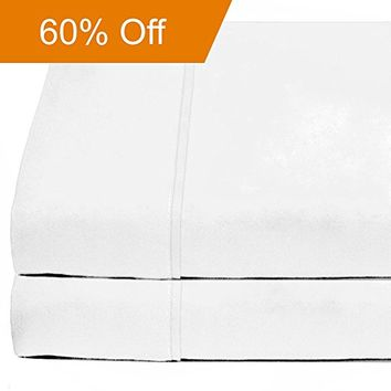 Flat Top Sheet Premium 1800 Ultra-Soft Microfiber Collection - Double Brushed, Hypoallergenic, Wrinkle Resistant, Easy Care (Queen - 2 Pack, White)