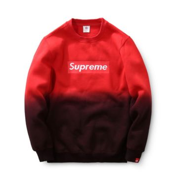 Supreme Print Red Gradient Round Neck Long Sleeve Sweater