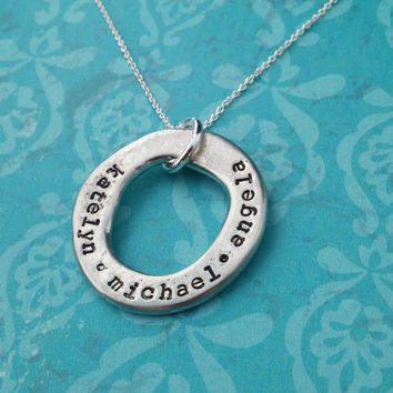 Hand Stamped Necklace with Kids Names - Rustic washer jewelry - Personalized Family Necklace - Circle of Love