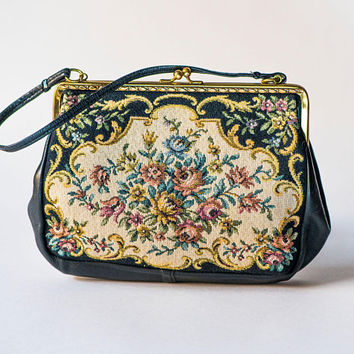 Floral Tapestry Clutch Vintage. Roses Floral Purse Small. Black Beige Evening Bag. Boho Handbag Genuine leather Flowers Vintage Handbag