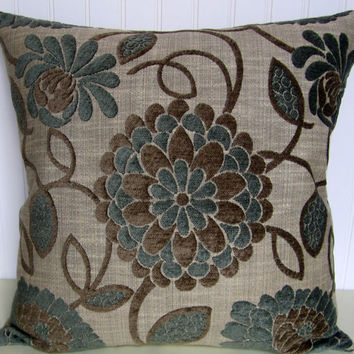 Chenille Decorative Pillow Cover-- 20 x 20 Contemporary and Dramatic Floral Chenille in Taupe and Blue
