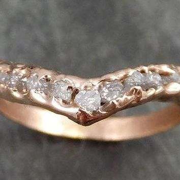Raw Rough Uncut Diamond Contour Curved Wedding Band rose 14k Gold Wedding Ring C0528