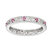 Stacks & Stones Sterling Silver Lab-Created Pink Sapphire Stack Ring