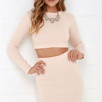 Belfry Chimes Pale Blush Two-Piece Sweater Dress