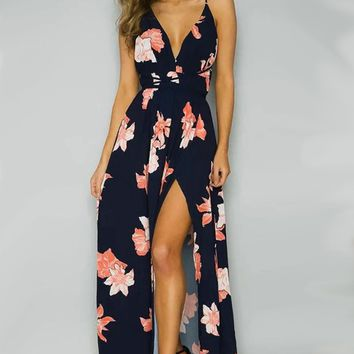 A| Backless Floral Printed High Slit Maxi Prom Dress
