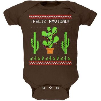 ICIK8UT Cactus Desert Feliz Navidad Ugly Christmas Sweater Soft Baby One Piece