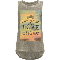 Full Tilt Let Love Shine Girls Muscle Tank Charcoal  In Sizes