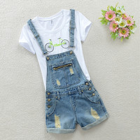Waist denim shorts summer new strap Siamese cute hole women  Overalls JEANS Shorts
