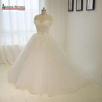 Off The Shoulder Short Sleeves Princess Wedding Dress