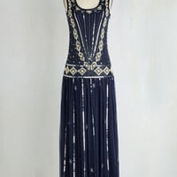 Vintage Inspired Long Sleeveless Maxi Winsome Wonderment Dress in Midnight