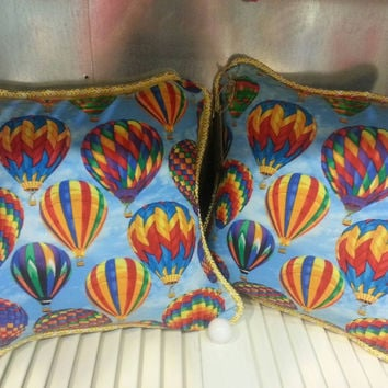Decrative Pillow Vibrant Hot Air Balloon