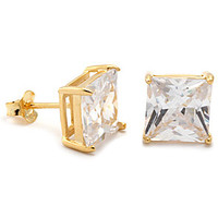 Gold Clear Princess Brilliant Sterling Silver CZ Stud Earrings