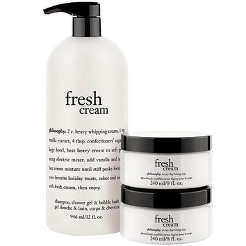 philosophy super-size fresh cream shower gel with souffle duo — QVC.com
